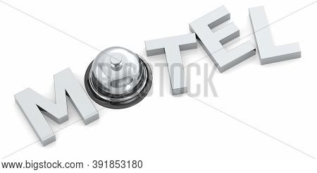 Motel Word With Reception Bell, 3d Rendering