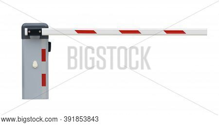 Parking Barrier Gate (with Clipping Path) Isolated On White Background