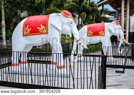 Elephant Statues At The Entrance To Siam Mall. 07.01.2020 Tenerife, Canary Islands.