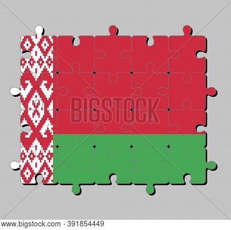Jigsaw Puzzle Of Belarus Flag In Bicolor Of Red Over Green In A 2:1 Ratio, With A Red Ornamental Pat
