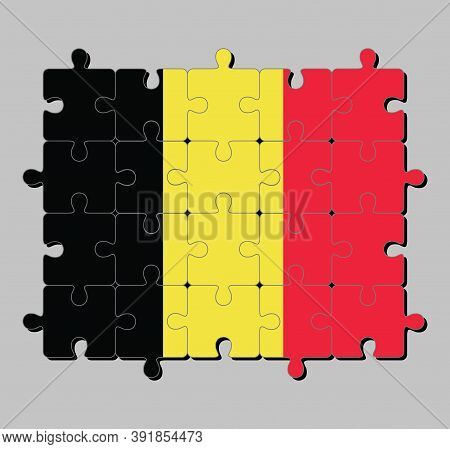 Jigsaw Puzzle Of Belgium Flag In A Vertical Tricolor Of Black Yellow And Red. Concept Of Fulfillment