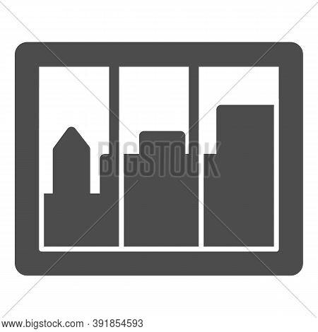 City Landscape In Window Solid Icon, Interior Design Concept, Casement Sign On White Background, Win