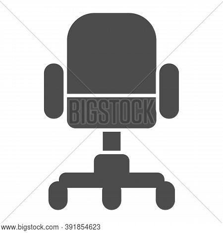 Office Chair Solid Icon, Furniture Concept, Swivel Desk Chair Sign On White Background, Office Inter