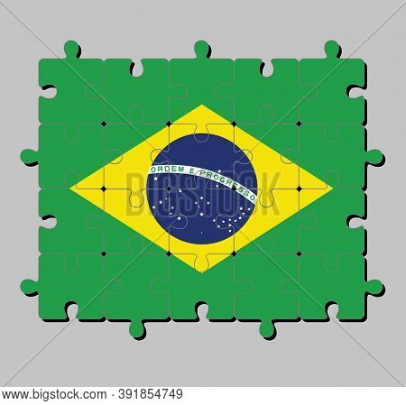 Jigsaw Puzzle Of Brazil Flag In Green Yellow And Blue Color And World In Center. Concept Of Fulfillm