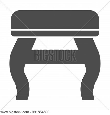 Retro Stool Solid Icon, Furniture Concept, Retro Pouf With Legs Sign On White Background, Wooden Cha