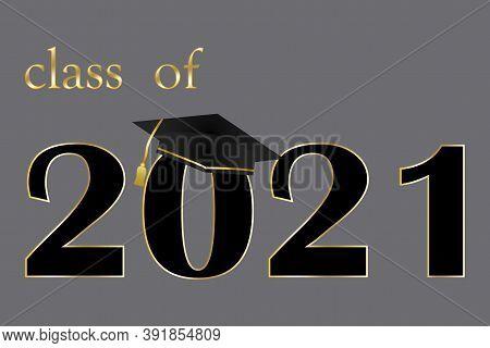 Vector Gray Banner Graduation Class 2021. Illustration For Graduation. Stock Image.