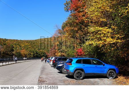Jim Thorpe, Pennsylvania - October 17,2020 - The Parking Lot At Lehigh Gorge State Park Surrounded B