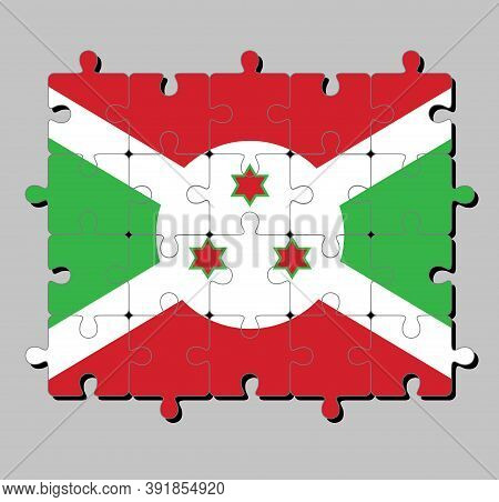 Jigsaw Puzzle Of Burundi Flag In A White Diagonal Cross Divided Into Four Panels Of Red And Green An