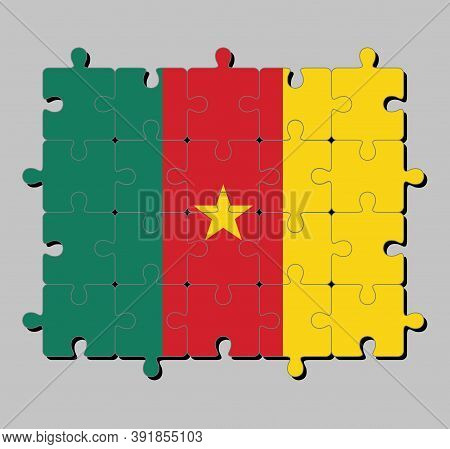 Jigsaw Puzzle Of Cameroon Flag In Green Red And Yellow, With A Gold Star. Concept Of Fulfillment Or