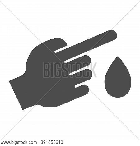 Blood From Finger Solid Icon, Medical Concept, Blood Test Sign On White Background, Finger With Bloo