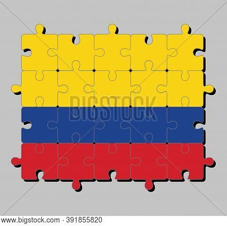 Jigsaw Puzzle Of Colombia Flag In A Horizontal Tricolor Of Yellow (double-width), Blue And Red. Conc