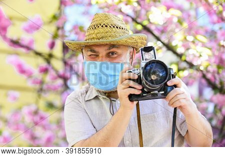 Pandemic Concept. Risky Photographer. Keep Working. Pollen Allergy. Tourist Camera Photo. Nature Pho