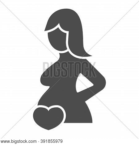 Pregnant Woman And Heart Solid Icon, Medical Concept, Pregnancy Sign On White Background, Pregnant W