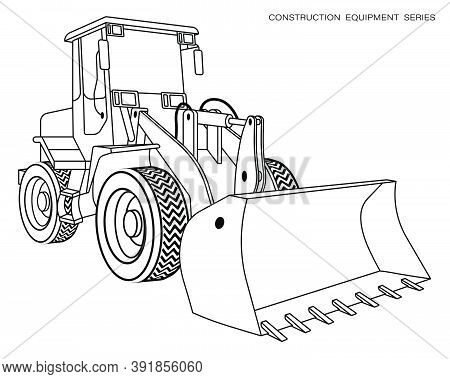 Children Linear Drawing For Coloring Book. Construction Equipment Loader, Bulldozer In Linear. Indus