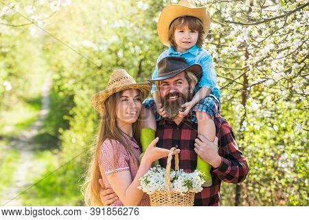 Spring Getaway. Happy Family Enjoy Spring Nature. Spring Break Vacation With Kid. Blooming Trees Are
