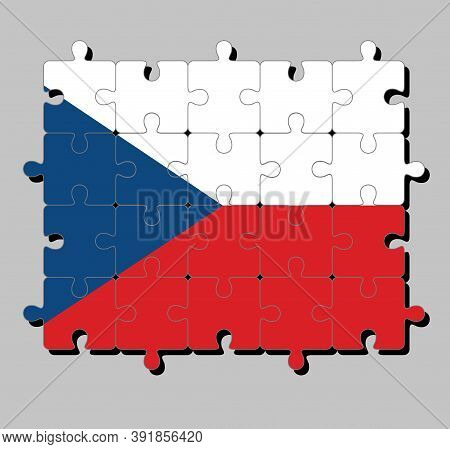 Jigsaw Puzzle Of Czech Republic Flag In Two Equal Horizontal Of White And Red With A Blue  Triangle