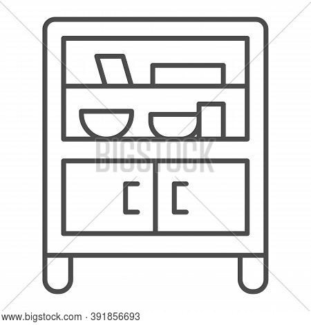 Cabinet With Glass And Shelves Thin Line Icon, Furniture Concept, Buffet Sign On White Background, C