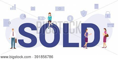Sold Concept With Modern Big Text Or Word And People With Icon Related Modern Flat Style