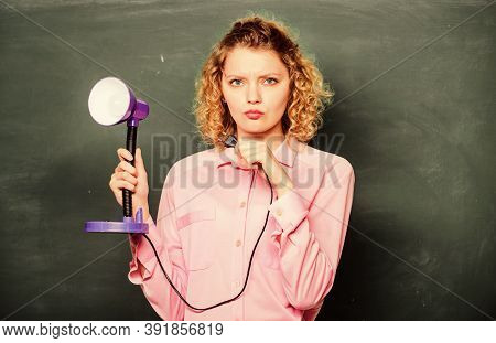 Light Up Process Of Studying. Student Girl Working With Electricity. Teacher With Lamp At School Bla