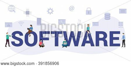 Software Concept With Modern Big Text Or Word And People With Icon Related Modern Flat Style
