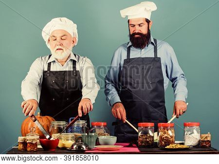 Chef Men Cooking. Father And Son Culinary Hobby. Family Restaurant. Selected Ingredients. Mature Bea
