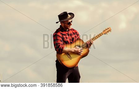 Hiking Song. Handsome Man With Guitar. Country Style. Summer Vacation. Play Beautiful Melody. Countr