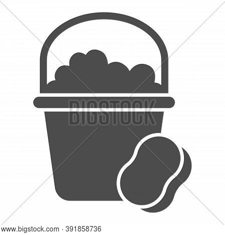 Bucket With Soapy Water And Sponge Solid Icon, Cleaning Service Concept, Home Cleaning Tools Sign On