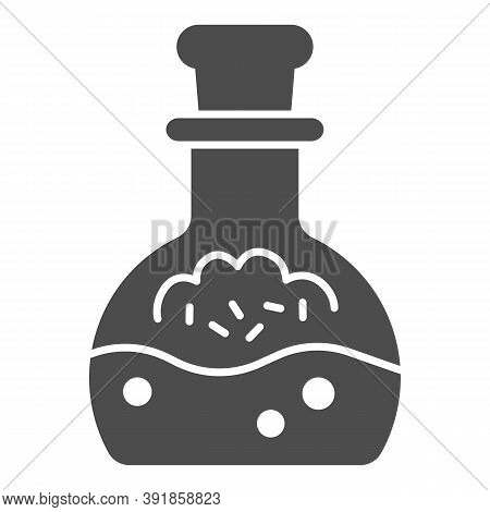 Potion In Scale With Stopper Solid Icon, Halloween Concept, Mana In Bottle Sign On White Background,