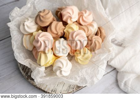 Colored Meringue Cookies, Closeup Of Mini Meringues
