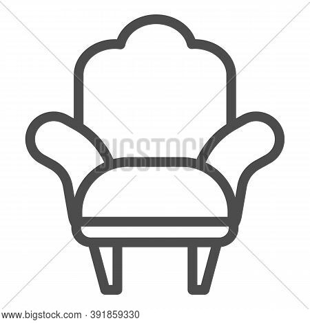 Armchair Line Icon, Furniture Concept, Comfortable Chair Sign On White Background, Armchair With Leg