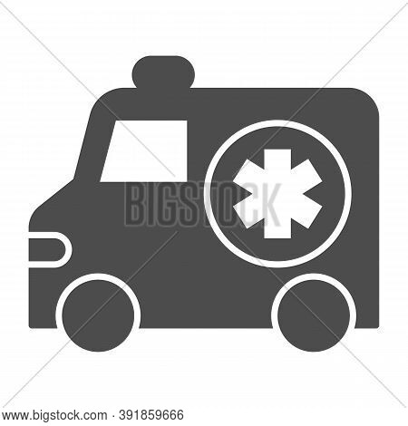 Ambulance Car Solid Icon, Medical Concept, Emergency Transport Sign On White Background, Emergency A
