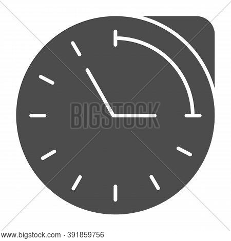 Clock With Hour Duration Solid Icon, Medical Concept, Medication Time Schedule Sign On White Backgro