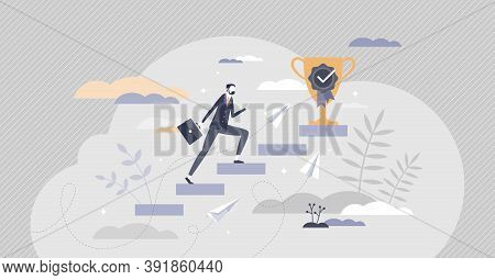 Reaching Goal As Business Career Steps Climbing To Target Scene Tiny Person Concept. Professional Gr