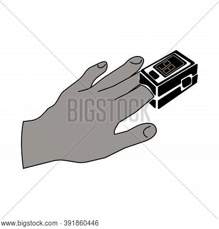 Silhouette Of A Hand With A Pulse Oximeter On A Finger, A Medical Device For Determining Blood Oxyge