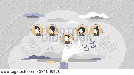 Hr Personnel Selection With Hiring Best Members For Work Tiny Person Concept. Recruitment Choice Wit