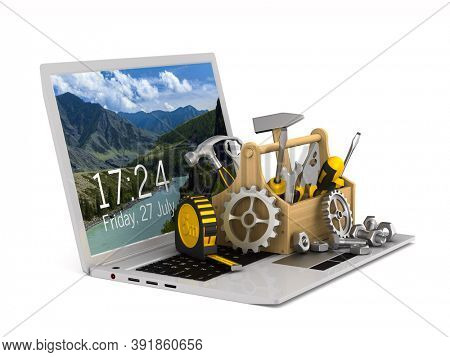 laptop service on white background. Isolated 3D illustration
