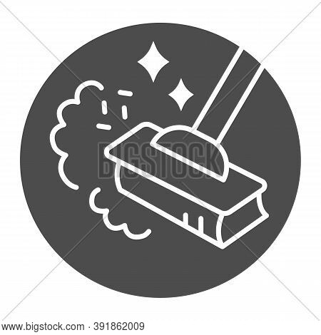 Sweeping Dust With Broom Solid Icon, Housework Concept, Broom In Dust Clouds Sign On White Backgroun