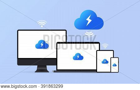 Cloud Storage Landing Page. Synchronization Clouds Storages App And Devices Host. System Software Up