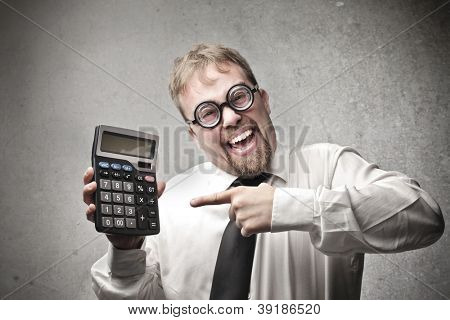 Office worker, with a pair of strange glasses, showing a calculator poster