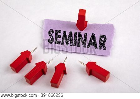 Seminar. Distance Learning, Courses And In-service Training Concept. Red Arrows