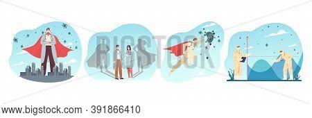 Coronavirus Protection, Healthcare, Medicine, Social Distance Set Concept. Collection Of Men Women D