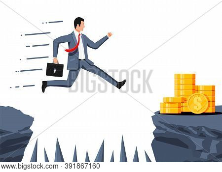 Businessman Jumps To Money Through Abyss With Thorns. Business Man In Suit With Briefcase Jump Betwe