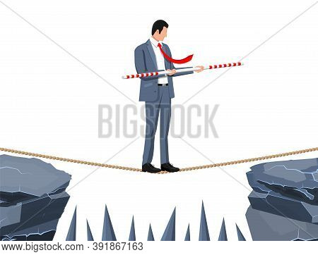 Businessman In Suit Walking On Rope With Balancer Stick. Business Man Walking On Tightrope Gap. Obst