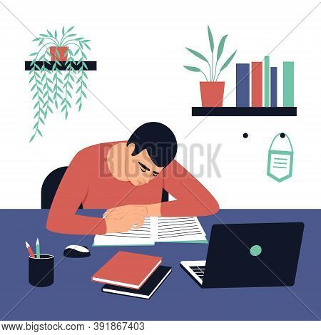 The Student Sits At His Desk And Does His Homework.  Concept For Learning At Home In Isolation Or Do