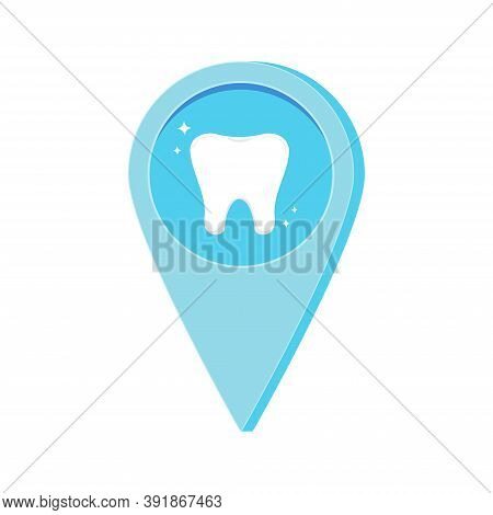 Dental Location Map Pin With Tooth Inside Isolated On White Background. Dentist Infoghraphic Pointer