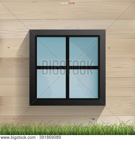 Window On Wooden Wall Texture With Horizontal Slats Wood Wall Of House. Vector Illustration.