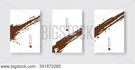 Chocolate Ink Brush Stroke On White Background. Japanese Style. Vector Illustration Of Grunge Wave S