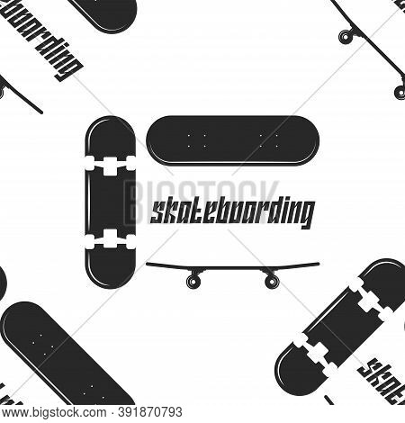 Skateboard Sports Seamless Pattern Black And White Style, Youth Apparel Fabric Design Fashion T-shir
