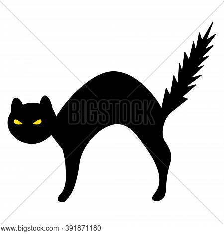 Cat. Silhouette. Witch Pet. Vector Illustration. Halloween Symbol. Outline On An Isolated Background