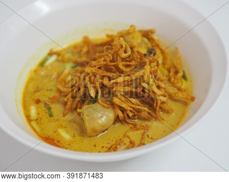 Khao Soi Recipe, Curried Noodle Soup With Chicken Noodles In Soup Cooked After The Manner Of The Peo